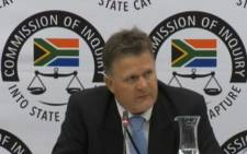 A screenshot of former Bosasa auditor Peet Venter at the state capture inquiry on 26 March 2019. Picture: SABCNews/Youtube