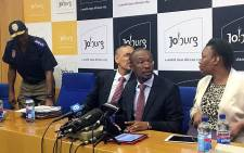City of Johannesburg Mayor Parks Tau with other senior CoJ officials during a media briefing on 29 March 2016. Picture: Masego Rahlaga/EWN.