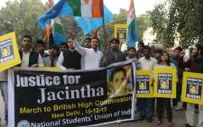National Students Union of India activists shout slogans as they march to the British High Commission in support of Indian-born nurse Jacintha Saldanha, who was found dead after being hoaxed by an Australian radio show. Picture: AFP.