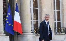 French Economy Minister Bruno Le Maire leaves the Elysee Presidential palace in Paris, on 9 May 2018, after the weekly cabinet meeting. Picture: AFP