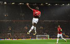 Manchester United forward Romelu Lukaku celebrates a goal. Picture: @ChampionsLeague/Twitter