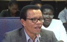 A screenshot of Lawrence Mrwebi testifying at the Mokgoro Inquiry. Picture: SABCNews/Youtube