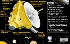 Graphic showing the New Horizons spacecraft, which will fly very close to dwarf planet Pluto on 14 July.