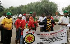 NTM workers on strike at the OR Tambo International airport. Picture: Govan Whittles/EWN