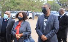 Gauteng Education MEC Panyaza Lesufi (right) alongside Basic Education Minister Angie Motshekga (centre) and Deputy Health Minister Joe Phaahla (left) joining the first group of educators at Rabasotho Community Centre in Tembisa who have heeded the call to get the COVID-19 vaccination. Picture: @EducationGP1/Twitter.