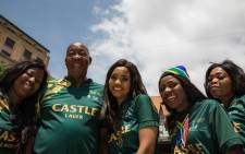 Springbok supporters at Nelson Mandela Square in Sandton. Picture: Kayleen Morgan/EWN