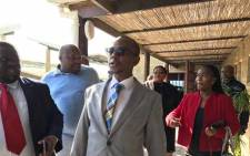 Bongani Mkongi was visiting the Lingelethu West Police Station on 6 July 2017 following an attempted armed robbery there last week where an officer was shot in the face. Picture: Monique Mortlock.EWN