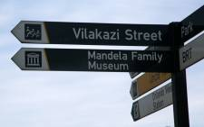 A signpost directs visitors in Soweto to the Mandela Family Museum. Picture: Phumlani Pikoli/EWN