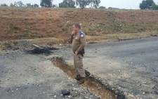 Residents have dug a large trench across the road, causing heavy delays on the R59 in Meyerton. Picture: Twitter/Abramjee