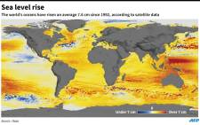 The world's oceans have risen an average 7.6cm since 1992.