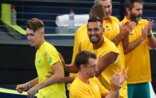 Australian duo Nick Kyrgios and Alex de Minaur celebrate their victory over England in the ATP Cup on 9 January 2020. Picture: @atptour/Twitter
