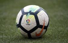 FILE: La Liga logo is seen on the ball of the Spanish league football match between Club Atletico de Madrid and Levante UD at the Wanda Metropolitano stadium in Madrid on 15 April 2018. Picture: AFP