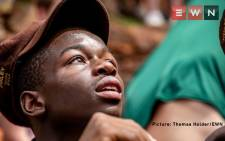 Fifteen-year-old Lebo Mogoma from Helpmekaar Kollege waits for the Springboks during their tour victory in Gauteng. Picture: Thomas Holder/EWN