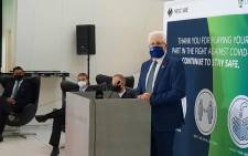 Western Cape Premier Alan Winde took part in the launch of a private vaccination centre at Old Mutual Park, Cape Town. Image: @alanwinde/Twitter