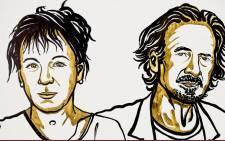 An illustration of 2018 Nobel Literature Prize winner Olga Tokarczuk (left) and 2019 Nobel Literature Prize winner Peter Handke (right). Picture: @NobelPrize/Twitter