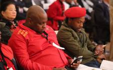 The EFF's Floyd Shivambu (L) and Mbuyiseni Ndlozi (R) at the first council sitting to elect a new mayor on 22 August 2016. Picture: Christa Eybers/EWN.