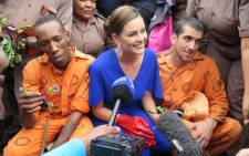 Miss World Rolene Strauss visits Leeuwkop Correctional Centre on 25 March 2015. Picture: Louise McAuliffe/EWN