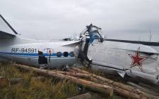This handout picture taken on 10 October 2021 by the Russia's Emergencies Ministry shows a wreckage at a site of the L-410 plane crash near the town of Menzelinsk. Picture: AFP