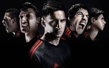 Star Adidas World Cup footballers (L-R) Dani Alves, Mesut Ozil, Lionel Messi, Luis Suarez and Oscar. Picture: Facebook.com