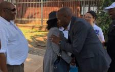 DA leader Mmusi Maimane greeting families of Life Esidimeni victims outside Gauteng Premier David Makhura's office ahead of the memorial service. Picture: @Our_DA/Twitter.