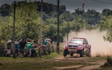 Teammates Giniel de Villiers and navigator Dirk von Zitzewitz was fourth-fastest, and are currently in fourth place in the overall standings, 02:05 behind new rally leader Sebastien Loeb. Picture: Toyota.