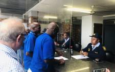 The DA's Solly Msimanga at the Alexandra Police Station on 7 April 2019 to lay a charge against the ANC for inciting violence in the area. Picture: @SollyMsimanga/Twitter