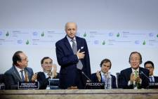 FILE: French president François Hollande (L), the French foreign minister and COP21 President Laurent Fabius (C), UN Secretary-General Ban Ki-moo (R). Picture: @COP21.
