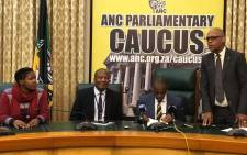 The ANC caucus in Parliament held a media briefing on 6 November 2018 addressed by ANC secretary general Ace Magashule and chief whip Jackson Mthembu. Picture: @ANCParliament/Twitter