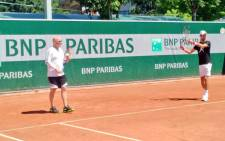 World number four Novak Djokovic is seen with new coach Andre Agassi during practice. Picture: Twitter/@DjokerNole.