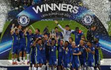 Chelsea players celebrate their Uefa Super Cup victory against Villarreal on 11 August 2021. Picture: @ChelseaFC/Twitter