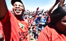 EFF leader Julius Malema addresses the Bothaville community in the Free State on 17 October 2021. Picture: Twitter