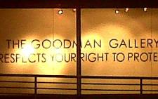A message in a window at the Goodman Gallery. Picture: Mayleen Vincent via Twitter