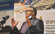 Transport Minister Fikile Mbalula addressing a virtual press briefing in Pretoria on 25 August 2020 on the eased public transport regulations under level 2 of the nationwide lockdown. Picture: @Dotransport/Twitter.