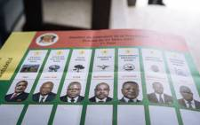 A general view of a ballot paper at a polling station before voting starts at the College D'enseignnement General Commune Makelekele, 1ER Arrondissement, in Brazzaville, Congo, on March 21, 2021. Picture: ALEXIS HUGUET / AFP