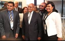 President Jacob Zuma poses with staff of InvestSA after opening the Cape Town office. Photo: Bertram Malgas