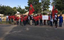Economic Freedom Fighters (EFF) members have gathered at Hoërskool Overvaal in Vereeniging to protest against the slow pace of transformation at schools. Picture: Hitekani Magwedze/EWN