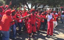 EFF supporters sing and dance at the party's people's assembly in Bloemfontein. Picture: Govan Whittles/EWN.
