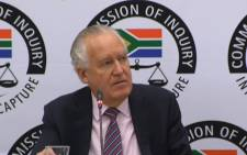 Former British politician Lord Peter Hain testifying at the Zondo Commission on 18 November 2019. Picture: SABC Digital News/YouTube.com