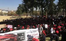 Women participating in the #TotalShutDown march arrive at the Union Buildings in Pretoria on 1 August 2018. Picture: Thando Kubheka/EWN
