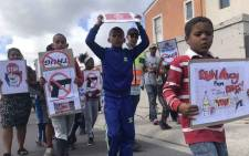 Children join their parents during a demonstration against gang violence in Lentegeur, Cape Town. Picture: Kaylynn Palm/EWN