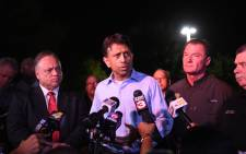 Governor Bobby Jindal spoke to the media in front of Johnston Street Java near the Grand Theatre on 23 July 2015 in Lafayette, Louisiana. Picture: AF