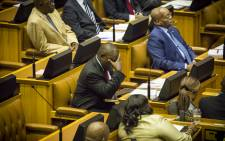 Deputy President Cyril Ramaphosa rests his head in his hands during the sona 2015 debate. Picture: Thomas Holder/EWN