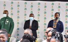 """Deputy President David Mabuza (C) during the """"Return To Play - It's In Your Hands"""" vaccination social mobilisation campaign at the Moses Mabhida Stadium, in KwaZulu-Natal on 8 October 2021. Picture: @MYANC/Twitter."""