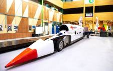 The Bloodhound Land Speed Record team clocked the vehicle at 320 kilometres per hour during trials at the UK's Cornwall Airport Newquay in 2017. Picture: Supplied.