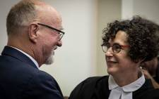 Derek Hanekom and his lawyer Carol Steinberg pictured at the Durban High Court on 23 August 2019. Picture: Xanderleigh Dookey/EWN