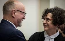 Derek Hanekom and his lawyer Carol Steinberg pictured at the Durban High Court on 23 August 2019. Picture: Xanderleigh Dookey/EWN