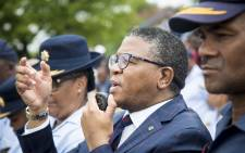 FILE: Minister of Police Fikile Mbalula addresses law enforcement members in Vanderbijl Park. Picture: Thomas Holder/EWN