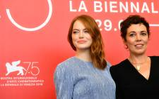 Actresses Emma Stone and Olivia Colman attend a photocall for the film 'The Favourite' presented in competition on 30 August 2018 during the 75th Venice Film Festival at Venice Lido. Picture: AFP.
