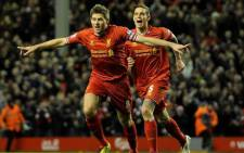 Liverpool captain Steven Gerrard celebrates after scoring a free-kick against Sunderland in the English Premier League on 26 March 2014 at Anfield. Picture: Facebook.