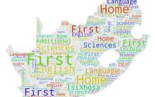 This word cloud graphic shows the subject - other than Life Orientation - in which the class of 2017 received the most distinctions in each province.